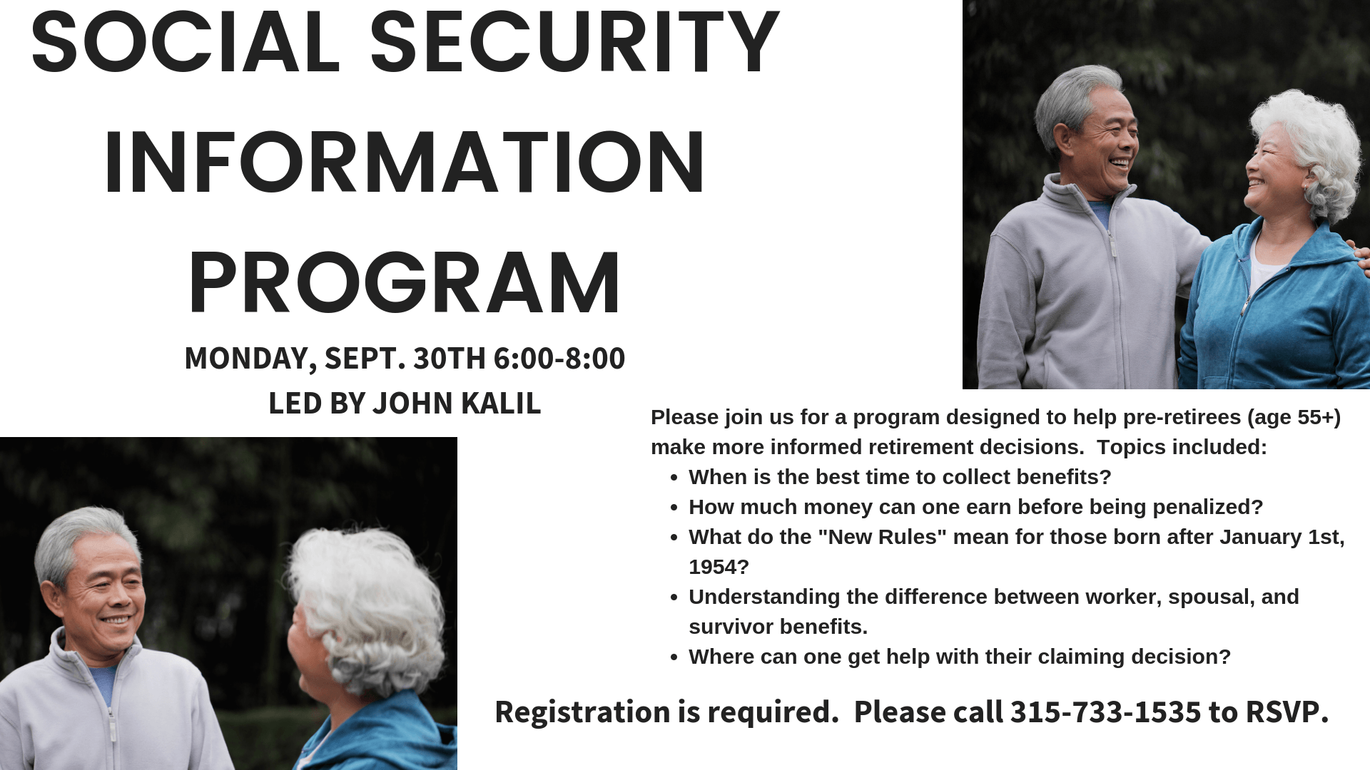 Social Security Information Program 6 00 7 30 New Hartford Public Library